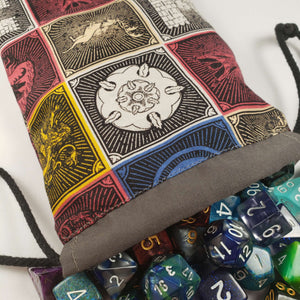 Game of Thrones House Crests Drawstring Dice Bag with Dice