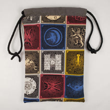 Load image into Gallery viewer, Game of Thrones House Crests Drawstring Dice Bag Open