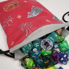 Load image into Gallery viewer, Game of Thrones Symbols Drawstring Dice Bag with Dice
