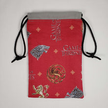 Load image into Gallery viewer, Game of Thrones Symbols Drawstring Dice Bag Open