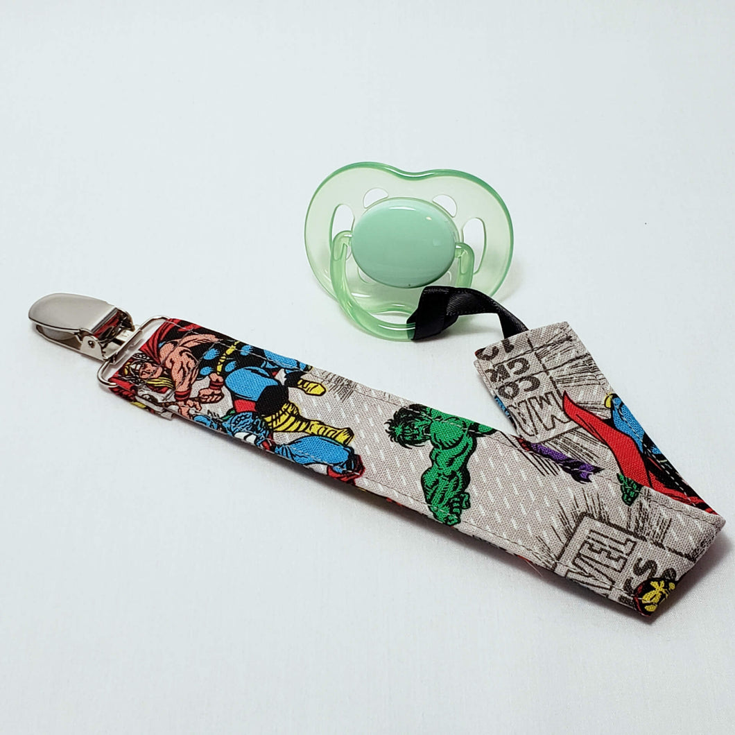 Grey Avengers Pacifier Clip with Pacifier