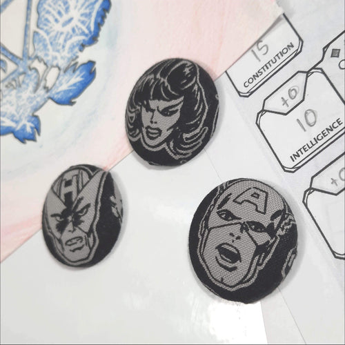 Greyscale Avengers Magnets Right Angle View