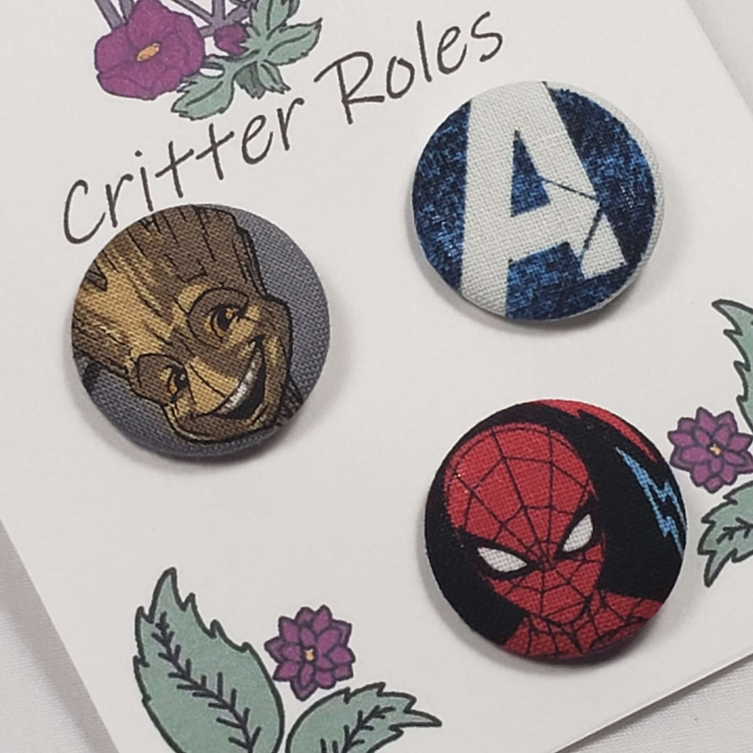 Groot, Avengers, and Spiderman Buttons Close Up