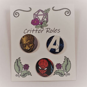 Groot, Avengers, and Spiderman Buttons