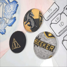 Load image into Gallery viewer, Hufflepuff Quidditch Magnets Right Angle View