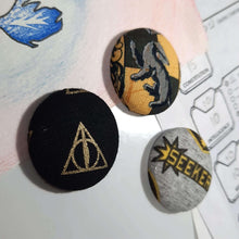 Load image into Gallery viewer, Hufflepuff Quidditch Magnets Left Angle View