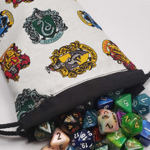 Load image into Gallery viewer, Harry Potter House Crests Drawstring Dice Bag with Dice