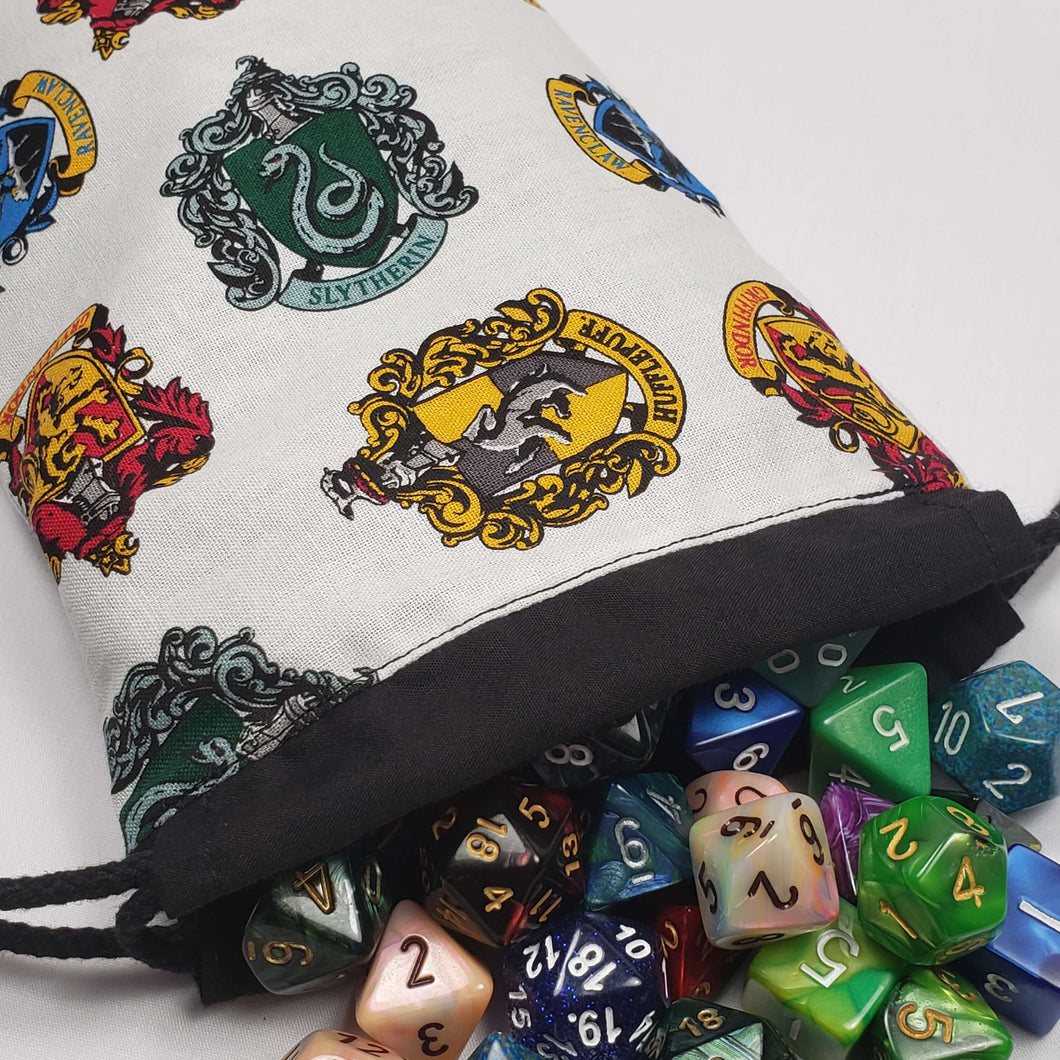 Harry Potter House Crests Drawstring Dice Bag with Dice