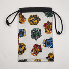 Load image into Gallery viewer, Harry Potter House Crests Drawstring Dice Bag Open