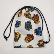 Load image into Gallery viewer, Harry Potter House Crests Drawstring Dice Bag Strings Pulled