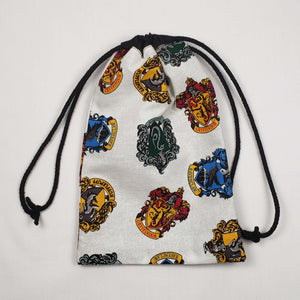 Harry Potter House Crests Drawstring Dice Bag Strings Pulled