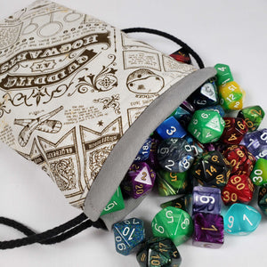 Harry Potter Quidditch Drawstring Dice Bag with Dice