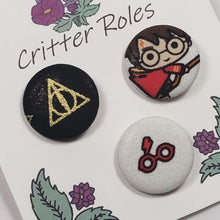 Load image into Gallery viewer, Deathly Hallows, Harry Potter, Glasses Buttons Close Up