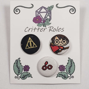 Deathly Hallows, Harry Potter, Glasses Buttons