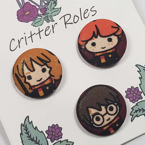 Hermione, Ron, and Harry Potter Buttons Close Up