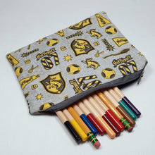 Load image into Gallery viewer, Hufflepuff Emblems Zipper Pouch with Pencils