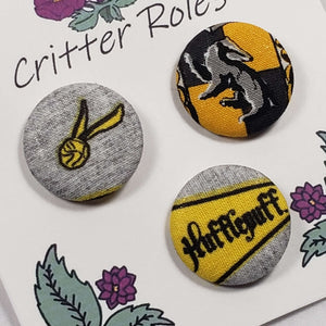 Hufflepuff Harry Potter House Buttons Close Up