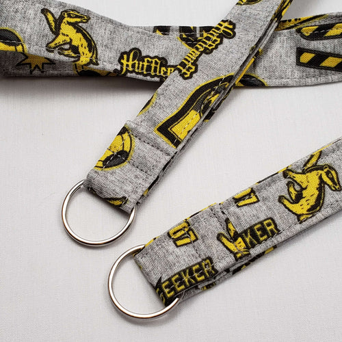 Hufflepuff Emblems Lanyard and Key Fob with Split Ring