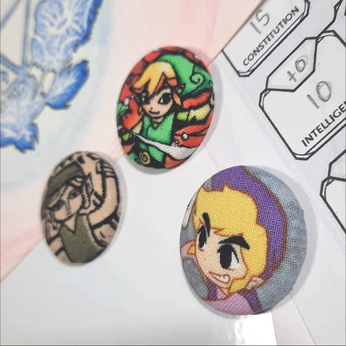 Legend of Zelda Link Trio Magnets Right Angle View