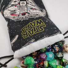 Load image into Gallery viewer, Millenium Falcon Drawstring Dice Bag with Dice