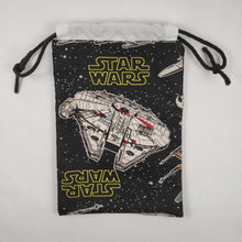 Load image into Gallery viewer, Millenium Falcon Drawstring Dice Bag Open