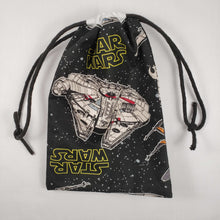 Load image into Gallery viewer, Millenium Falcon Drawstring Dice Bag Strings Pulled