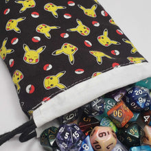 Load image into Gallery viewer, Pikachu and Pokeball Drawstring Dice Bag with Dice