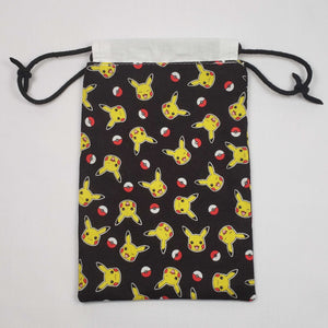 Pikachu and Pokeball Drawstring Dice Bag Open