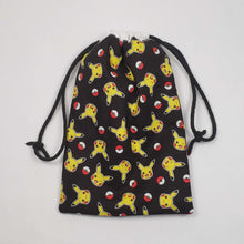 Load image into Gallery viewer, Pikachu and Pokeball Drawstring Dice Bag Strings Pulled