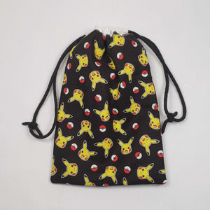 Pikachu and Pokeball Drawstring Dice Bag Strings Pulled