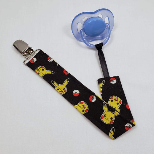 Pikachu and Pokeball Pacifier Clip with Pacifier