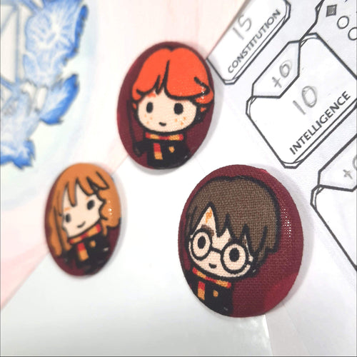 Ron, Hermione, and Harry Potter Magnets Right Angle View