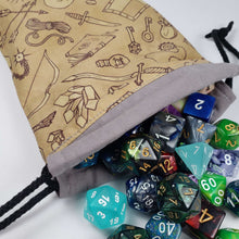 Load image into Gallery viewer, RPG Adventuring Kit Drawstring Dice Bag with Dice
