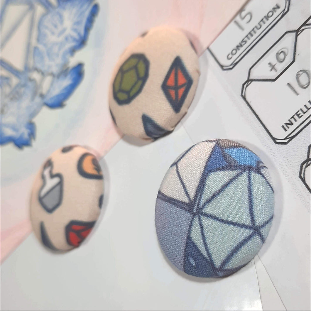 RPG Dice and Potion Magnets Right Angle View