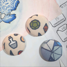 Load image into Gallery viewer, RPG Dice and Potion Magnets Front View
