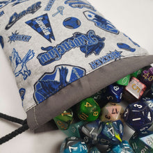 Load image into Gallery viewer, Ravenclaw House Emblems Drawstring Dice Bag with Dice