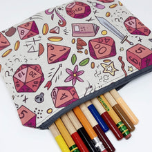 Load image into Gallery viewer, Rose Dice Zipper Pouch Close Up
