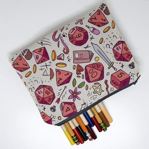 Rose Dice Zipper Pouch Top Down