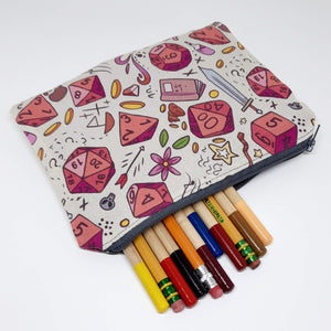Rose Dice Zipper Pouch with Pencils