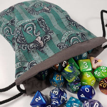 Load image into Gallery viewer, Slytherin House Drawstring Dice Bag with Dice