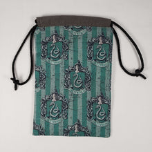 Load image into Gallery viewer, Slytherin House Drawstring Dice Bag Open