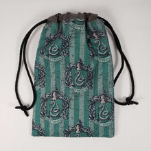 Load image into Gallery viewer, Slytherin House Drawstring Dice Bag Strings Pulled