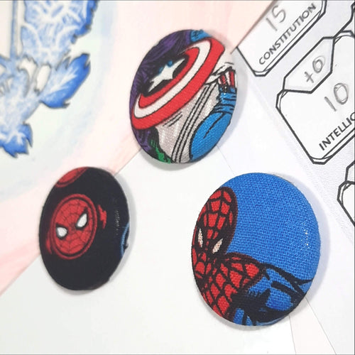 Spiderman & Captain America Magnets Close Up