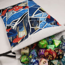 Load image into Gallery viewer, Classic Spiderman Drawstring Dice Bag with Dice
