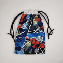 Load image into Gallery viewer, Classic Spiderman Drawstring Dice Bag Strings Pulled