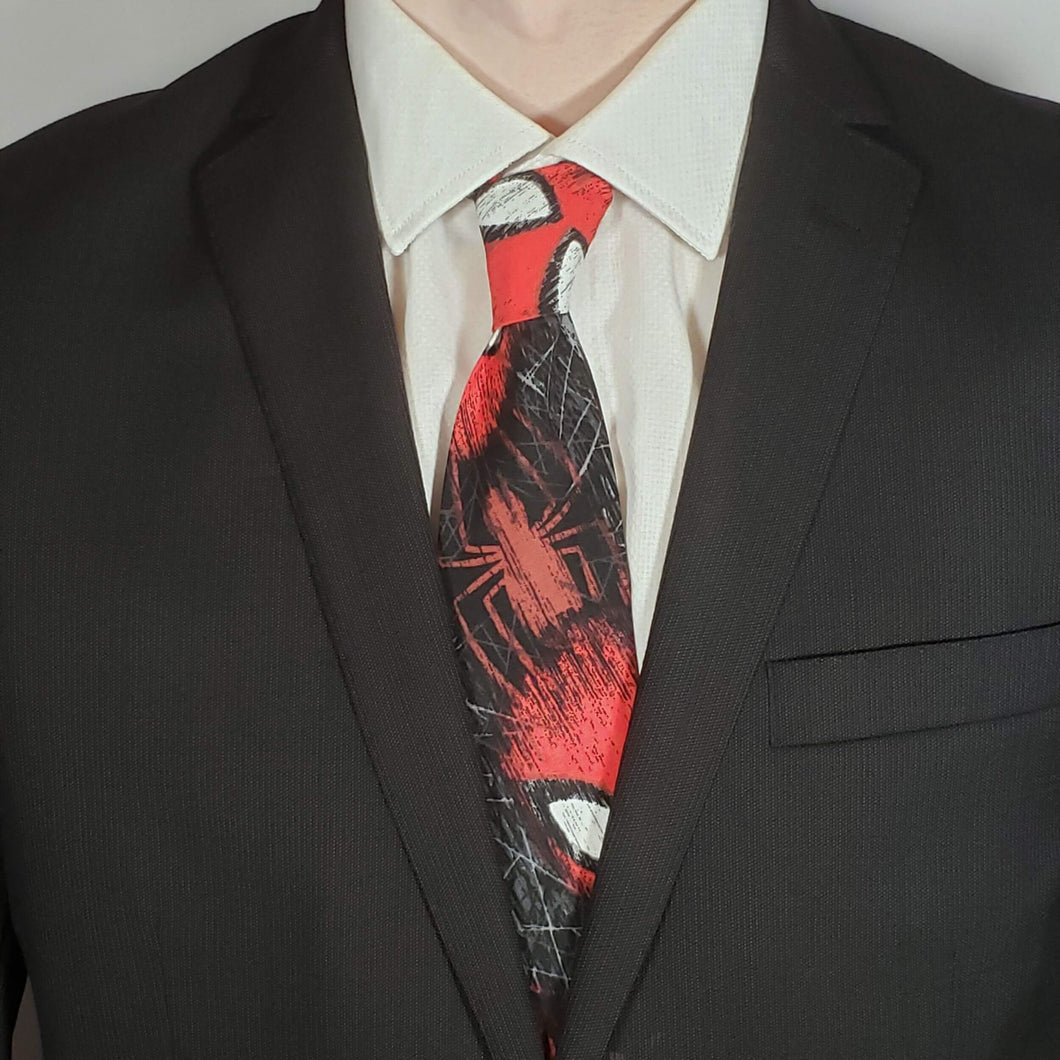 Spiderman Faces Necktie Worn with Suit