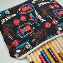 Load image into Gallery viewer, Spiderman Symbols Zipper Pouch Close Up