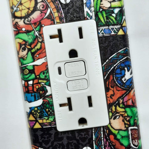 Stain Glass Legend of Zelda Outlet Cover Close Up