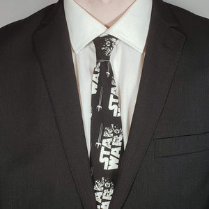 Star Wars Tie Fighter Necktie Worn with Suit