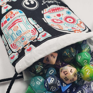 Star Wars Sugar Skull Drawstring Dice Bag with Dice
